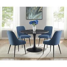 View Product - Colfax 5 Piece Black Base/Black Marble Top Dining (Table & 4 Side Chairs)