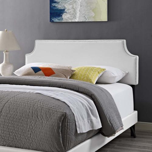 Corene Queen Vinyl Platform Bed with Round Splayed Legs in White