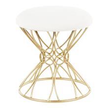 View Product - Jasmine Vanity Stool - Gold Metal, White Plush Fabric