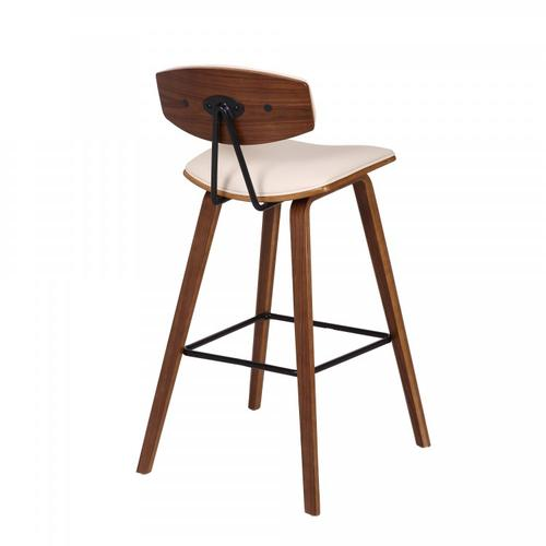 """Fox 28.5"""" Mid-Century Bar Height Barstool in Cream Faux Leather with Walnut Wood"""