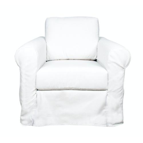 Roll Arm Slipcover Chair, Plush depth.