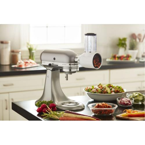 Value Bundle Artisan® Series 5 Quart Tilt-Head Stand Mixer with Fresh Prep Slicer/Shredder Attachment - Contour Silver