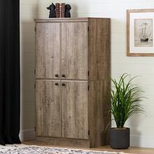 4-Door Storage Cabinet - Weathered Oak