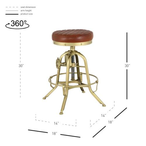 Reid Leather Industrial Backless Vintage Stool Gold Legs, Ale Brown