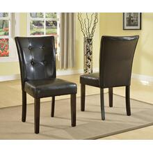 Black Blended-leather Parson Dining Side Chairs with Espresso Legs, Set of 2