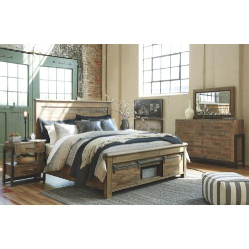 California King Panel Bed With Storage With Mirrored Dresser and 2 Nightstands