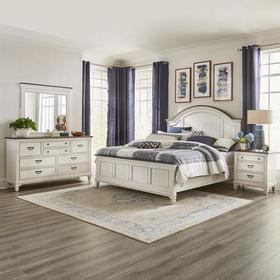King Arched Panel Bed, Dresser & Mirror, Night Stand