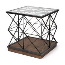 Eldorado VI 22x25 Square Glass Top Wood and Metal Trestle Frame End/Side Table