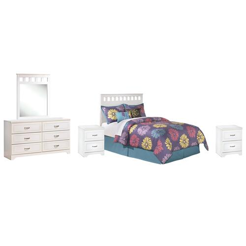 Ashley - Full Panel Headboard With Mirrored Dresser and 2 Nightstands