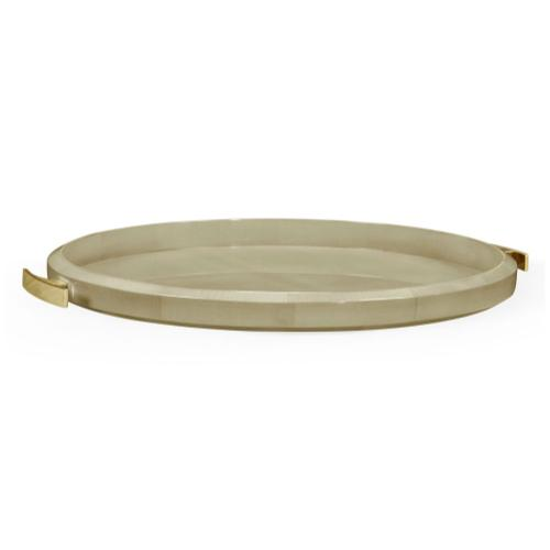 Art Deco Oval Tray with Brass