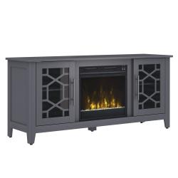 """Clarion TV Stand for TVs up to 60"""" with Electric Fireplace, Cool Gray"""