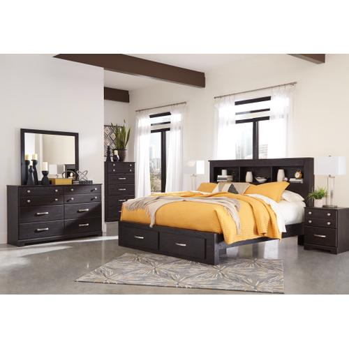 Queen Bookcase Bed With 2 Storage Drawers With Dresser