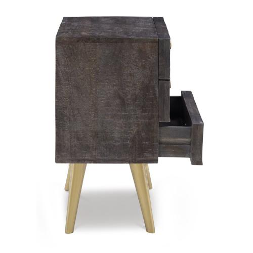 3-drawer and Flared Legs Cabinet, Smokey Grey and Gold
