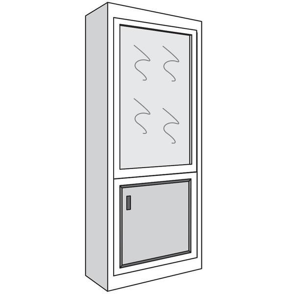 """See Details - Full height bookcase, 12""""d with Glass Door on Top and Wood Door on Bottom, 18""""w x 82""""h (1 Door)"""