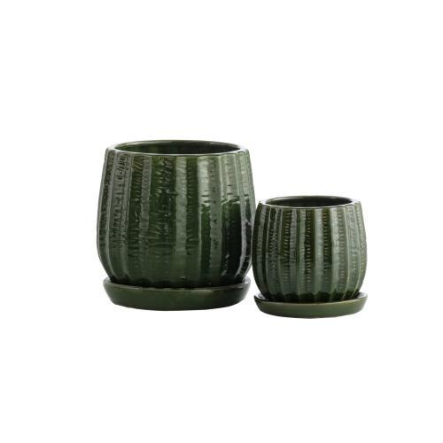 Green Gherkin Petits Pots w/ attached saucer, Set of 2