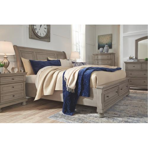 Lettner King Sleigh Bed With 2 Storage Drawers