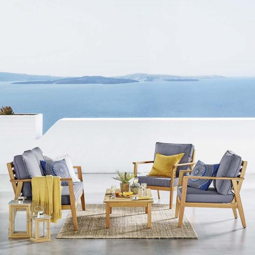 Syracuse Outdoor Patio Upholstered 4 Piece Furniture Set in Natural Gray
