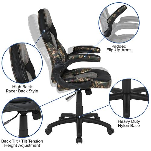 Gallery - Red Gaming Desk and Camouflage\/Black Racing Chair Set with Cup Holder and Headphone Hook