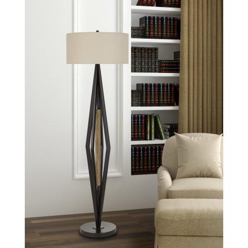 Terrassa Metal Floor Lamp With Wood Accent And Hardback Linen Shade