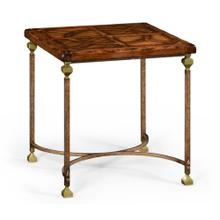 Parquetry & iron side table