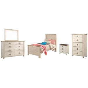 Ashley - Twin Panel Bed With Mirrored Dresser, Chest and Nightstand