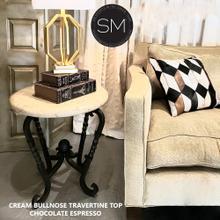 "See Details - Luxury Foyer Table Ravishing Traventine Cream Bullnose w/ Twisted Legs -1211BB - 24"" / Peach Chiseled / Chocolate Espresso"