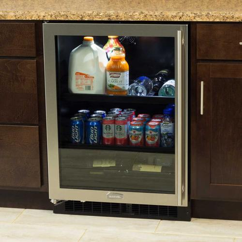 24-In Built-In Beverage Center With Split Convertible Shelves with Door Style - Stainless Steel Frame Glass, Door Swing - Left