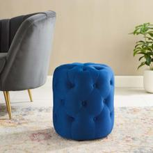 Amour Tufted Button Round Performance Velvet Ottoman in Navy