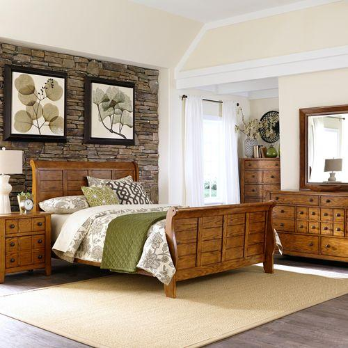 Liberty Furniture Industries - King California Sleigh Bed, Dresser & Mirror, Chest, Night Stand