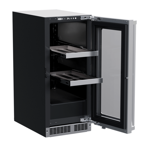 15-In Professional Built-In Beverage Center With Reversible Hinge with Door Style - Stainless Steel Frame Glass