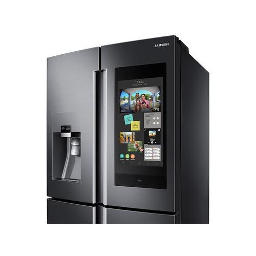 Samsung - 22 cu. ft. Family Hub™ Counter Depth 4-Door Flex™ Refrigerator in Black Stainless Steel