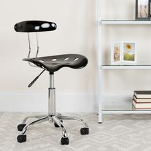 View Product - Vibrant Black and Chrome Swivel Task Office Chair with Tractor Seat