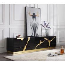 Modrest Aspen - Modern Black & Gold TV Stand