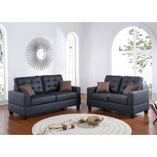 Ramla 2pc Loveseat & Sofa Set, Black-faux-leather