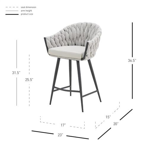 Fabian KD Fabric/ PU Counter Stool w/ Arms, Alpine Light Gray/ Fairfax Gray