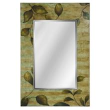 Hand Painted Foil Application on Rectangular Wood Frame Mirror