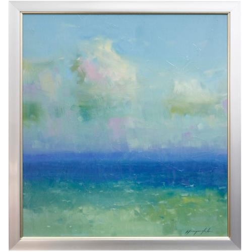 Style Craft - SHORELINE CLOUDS  34in w X 37in ht  Textured Framed Print  Made in USA