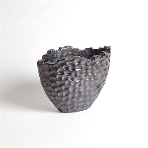 Random Grid Vase-Graphite-Short