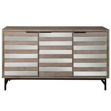 PRESTON SIDEBOARD  Driftwood Finish on Hardwood with Plain Finish Beveled Mirror with Iron Base  3