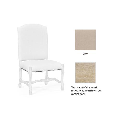 Upholstered side chair in Limed Acacia (COM)