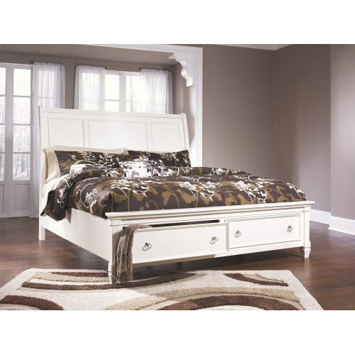 Queen Sleigh Bed With 2 Storage Drawers With Mirrored Dresser, Chest and 2 Nightstands