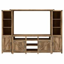 See Details - 65W Farmhouse TV Stand with Shelves Entertainment Center, Reclaimed Pine