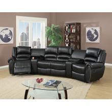 Tasi 5pc Reclining/motion Home Theater Sofa Set, Black-bonded-leather