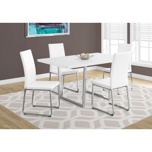 "DINING CHAIR - 2PCS / 38""H / WHITE LEATHER-LOOK / CHROME"