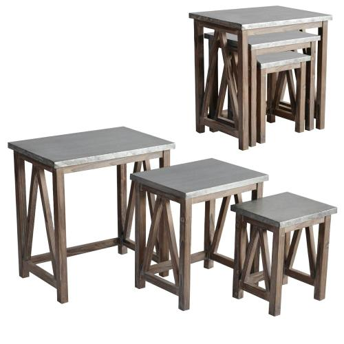 Newhart Rustic Wood and Galvanized Metal Set of 3 Nested Tables