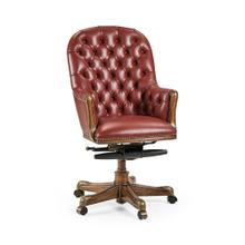 Chesterfield Style High Back Walnut Office Chair, Upholstered in Red Leather