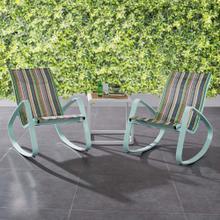 Traveler Rocking Lounge Chair Outdoor Patio Mesh Sling Set of 2 in Green Stripe