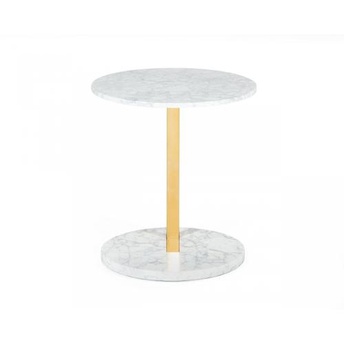 Modrest Cordon - Glam White Marble and Brass End Table