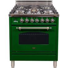 Nostalgie 30 Inch Gas Liquid Propane Freestanding Range in Emerald Green with Bronze Trim
