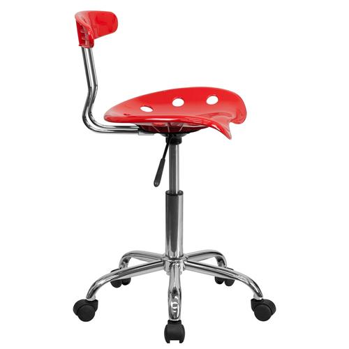 Flash Furniture - Vibrant Red and Chrome Swivel Task Office Chair with Tractor Seat